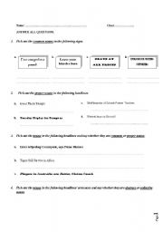English Worksheets: common/ proper nouns and collective / abstract nouns