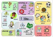 English Worksheets: I like....