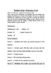 English worksheet: happy birthday script