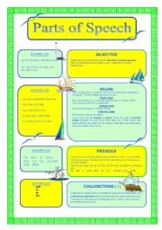 English Worksheet: PARTS OF SPEECH