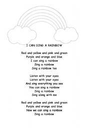 English Worksheet: I can sing a rainbow