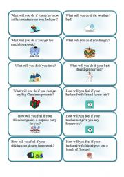 English Worksheets: First conditional question cards