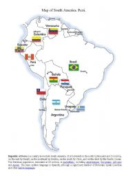 English Worksheet: Map of South America.