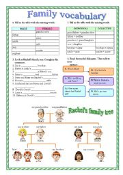 English Worksheets: family vocabulary