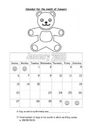 English worksheet: Days and month
