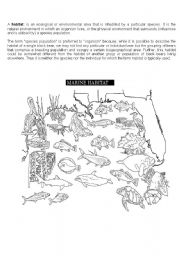 English Worksheet: a marine habitat