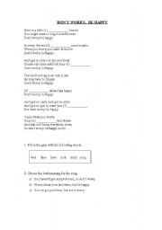 English Worksheets: don´t worry, be happy song