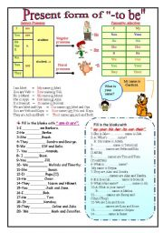 English worksheet: Present form of