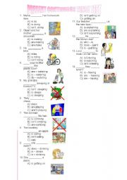 English Worksheet: present continuous tense test