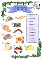 At the Restaurant (Starters) activity card