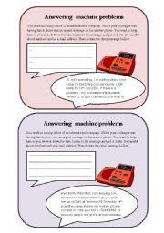 English Worksheet: Answering machine problems
