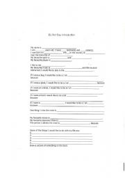 English Worksheets: First Day Introduction