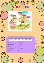 English worksheet: Adjectives of different kinds(20-09-2008)