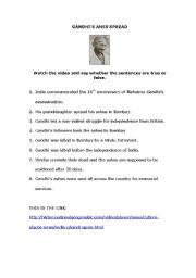 English Worksheet: VIDEO WORKSHEET: GANDHI ASHES SPREAD