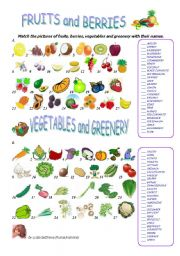 English Worksheet: FRUITS and BERRIES, VEGETABLES and GREENERY