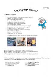 English Worksheet: Coping with stress