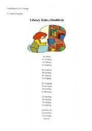 English Worksheet: Library Rules