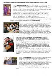 English Worksheet: wedding traditions
