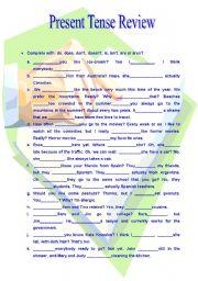 English Worksheet: Present Tense Review