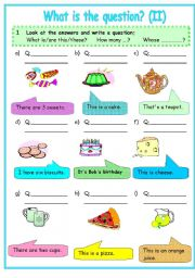 English Worksheets: WH-QUESTIONS : BEGINNERS