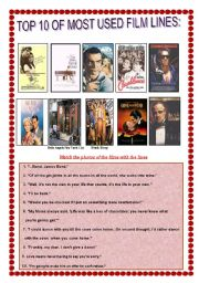English Worksheets: Most Famous Film Lines with key Number 2