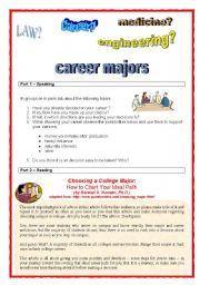 English Worksheets: 4 skills activity - career majors