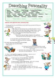English Worksheet: Describing Personality