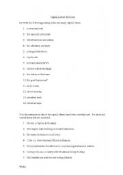 English Worksheets: Captial Letters Revision