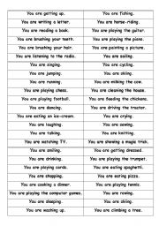 English Worksheet: Present Continuous miming game