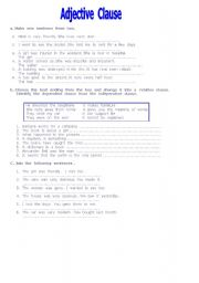 English Worksheet: adjective clause
