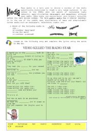 English Worksheet: MEDIA + �VIDEO KILLED THE RADIO STAR�