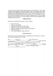 English Worksheets: wreiting about your self