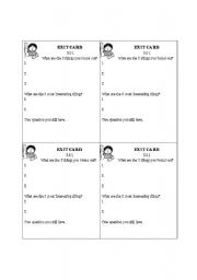 English Worksheets: EXIT CARD