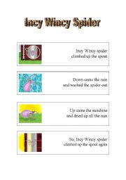 English Worksheet: Incy Wincy Spider