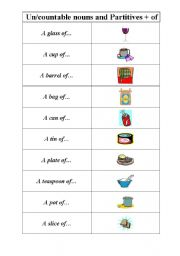 English Worksheet: Uncountable and countable nouns and partitives to go with them