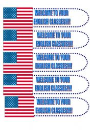 English worksheet: Book Marker: Welcome to your English classes