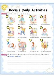 English Worksheets: Reem�s Daily Activities (4 skills - literacy practice  in 2 pages)