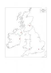 The British Isles - blank map - ESL worksheet by edwige1905