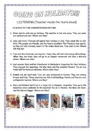 English Worksheet: GOING ON HOLIDAYS (SIMPLE FUTURE) 2nd part