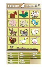 English Worksheets: Pictionary / Farm Animals