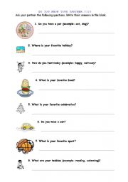 English Worksheets: DO YOU KNOW YOUR PARTNER??