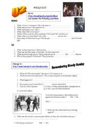 English Worksheets: U2 webquest