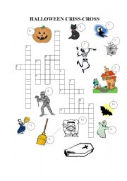 English Worksheets: HALLOWEEN CRISS-CROSS