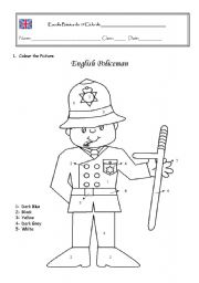 English Policeman colour by numbers