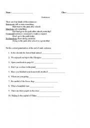 English Worksheets: kind of sentences