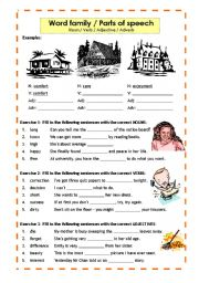 English Worksheet: Parts of speech / Word family: Noun, Verb, Adjective, Adverb