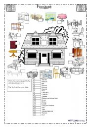 English Worksheets: The House_Furniture 09/21/2008