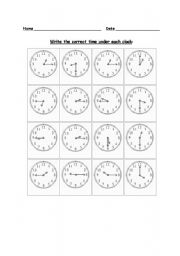 English Worksheets: writing time in numbers