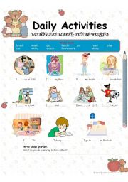 English Worksheets: Daily Activities practice exercise