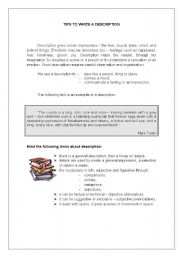 English Worksheets: how to write a description